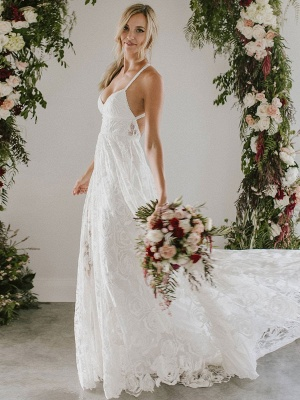Beach Wedding Dress With Chapel Train White V-Neck Sleeveless Backless Lace Split Long Bridal Gowns_2