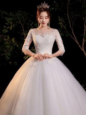 Simple Wedding Dress Eric White Ball Gown Jewel Neck Half Sleeves Applique Long Bridal Dresses_4