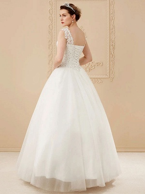White Jewel Neck Sleeveless Soft Tulle Lace Up Floor Length Bride Dresses_2