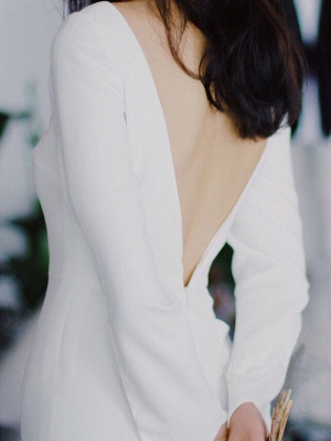 White Simple Wedding Dress Satin Fabric V-Neck Long Sleeves Buttons Mermaid Bridal Gowns_7