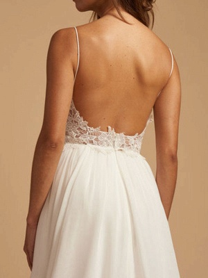 Simple Wedding Dress 2021 A Line V Neck Straps Sleeveless Lace Chiffon Bridal Dresses With Train For Beach Party_3