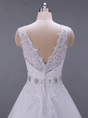 Brautkleider V-Ausschnitt Ärmellos A-Linie Spitze Verzierung Perlen Schärpe Brautkleider Mit Zug_5