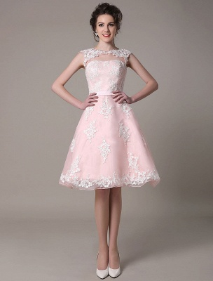 Lace Wedding Dress Cut Out Knee Length A-Line Bridal Dress With Satin Bow Exclusive_4