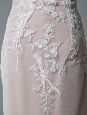 Simple Wedding Dress Mermaid Jewel Neck Short Sleeves Floor Length Customized Lace Bridal Gowns With Train_7
