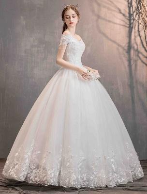 Tüll Brautkleider Prinzessin Brautkleid Schulterfrei Spitze Applique Bodenlangen Ballkleid Brautkleid_12