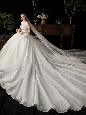 Ball Gown Wedding Dress 2021 Princess Silhouette Cathedral Train Off The-Shoulder Short Sleeves Natural Waist Beaded Sequined Bridal Dresses_3