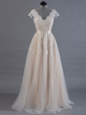 Vestido de novia 2021 Cuello en V Mangas cortas Apliques de encaje Hasta el suelo Tul Vestidos de novia tradicionales_1