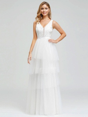 Vestido de novia 2021 Una línea Cuello en V Sin mangas Vestido de pastel de tul multicapa Vestido de novia_3