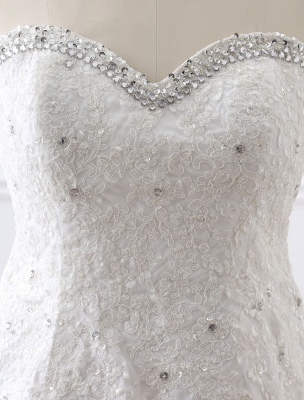 Tulle Wedding Dress Lace Beading Bridal Gown Strapless Sweetheart Chapel Train A-Line Backless Bridal Dress_15