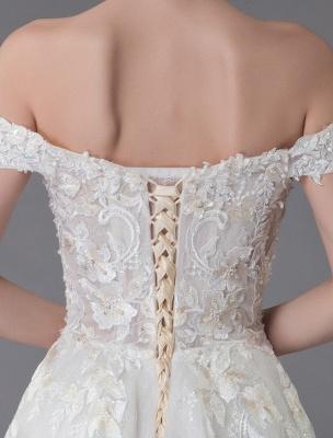 Robes de mariée d'été hors de l'épaule dentelle champagne appliques perles maxi plage robes de mariée_10