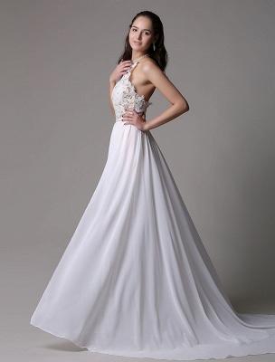 White Prom Dresses 2021 Long Ivory Halter Backless Evening Dress Lace Applique Beading Chiffon Split Party Dress_4