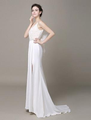Satin Sheath Wedding Dress Plunging Neckline Bow Back Belt Lace Beading Evening Dress Exclusive_2