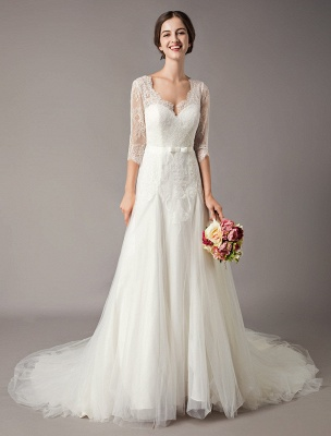 Wedding Dresses A Line Ivory V Neck Lace Tulle Half Sleeve Bridal Dress With Train_2