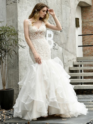 Wedding Bridal Gowns Mermaid Sleeveless V Neck Lace Bridal Gowns With Train_7