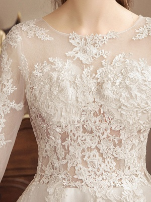 Ivory Wedding Dresses Lace Applique Jewel Neck 3/4 Length Sleeve Princess Bridal Gown With Train_7