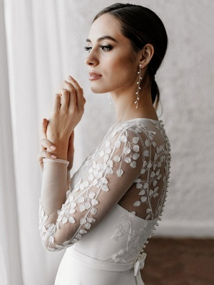 White Simple Wedding Dress A-Line Illusion Neckline Long Sleeves Pearls Trainsatin Fabric Lace Bridal Gowns_4