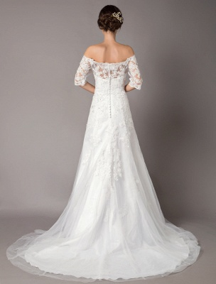 Wedding Dresses Ivory Lace Off Shoulder Half Sleeve Sequin Applique Bridal Dress With Train Exclusive_6