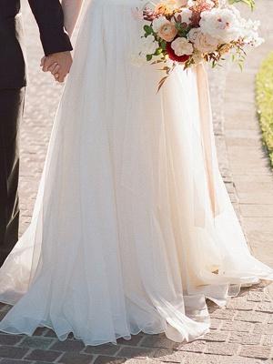 A Line Wedding Dress Ivory Blackless V Neck Spaghetti Straps Wedding Dress_5