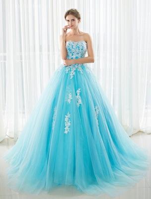 Blaues Hochzeitskleid Spitze Applique Tüll Hof-Schleppe Trägerlos Schatz Lace-Up A-Linie Brautkleid_4