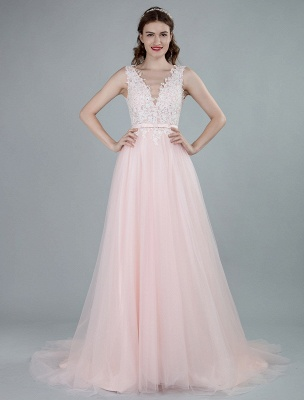 Wedding Dresses A Line Sleeveless Bows V Neck Bridal Dresses With Court Train Exclusive_8