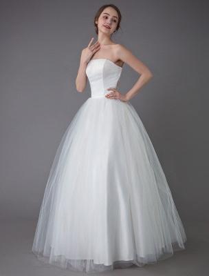 Tulle Wedding Dress Ivory Strapless Sleeveless Princess Dress Ball Gown Floor Length Bridal Dress Exclusive_5