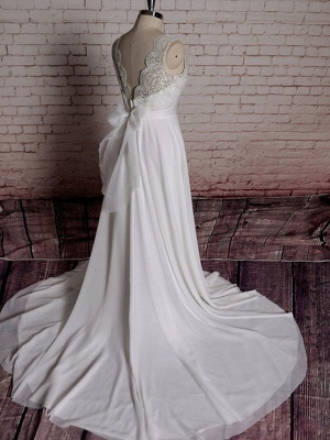 Simple Wedding Dress A Line Lace V Neck Sleeveless Bows Bridal Dresses With Chapel Train_2
