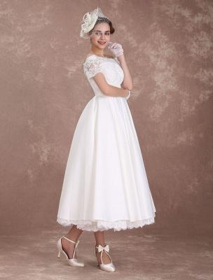 Vestidos de novia cortos Vestido de novia vintage Años 50 Bateau Encaje Manga corta Marfil Faja Hasta el té Vestido de recepción nupcial Exclusivo_6