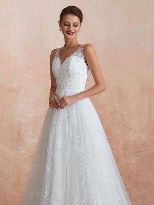 Wedding Dress 2021 A Line V Neck Sleeveless Floor Length Bridal Gowns With Train_8