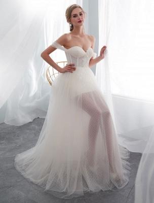 Brautkleider Tüll Elfenbein Schulterfrei Sweetheart Beach Brautkleid mit Schleppe_5