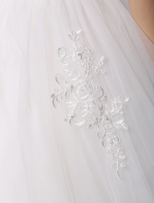 Kurzarm-Spitze-Prinzessin-Hochzeitskleid mit mehrlagigem Tüllrock Exklusiv_7