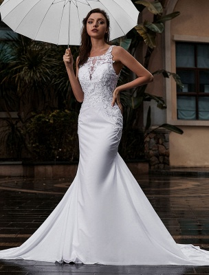 Customize Wedding Dress With Train Sleeveless Beaded Square Neck Bridal Gowns_1