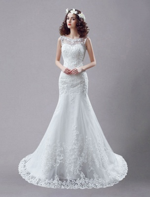 White Wedding Dress Lace Backless Bridal Dresses Rhinestones Beaded Mermaid Wedding Gown_1
