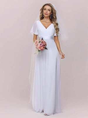 Simple Wedding Dress Chiffon V-Neck Short Sleeves Backless A-Line Long Bridal Gowns_5
