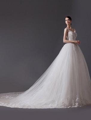 Brautkleider V-Ausschnitt Spitze Applique Brautkleid Pailletten Perlen Illusion Lange Kathedrale Zug Brautkleid_2