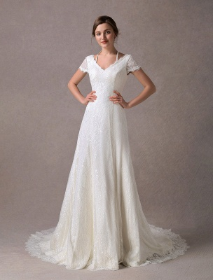 Lace Wedding Dresses Ivory V Neck Short Sleeve A Line Straps Bridal Gowns With Train Exclusive_3