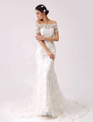 Vintage Inspired Off The Shoulder Mermaid Lace Wedding Dress Exclusive_1