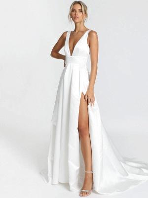 Weißes einfaches Hochzeitskleid Satin Stoff V-Ausschnitt ärmellose rückenfreie A-Linie Brautkleider_3