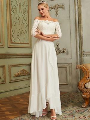 Abendkleid Bateau-Ausschnitt Chiffon Bodenlangen Applique Social Dinner Kleider Partykleid_3