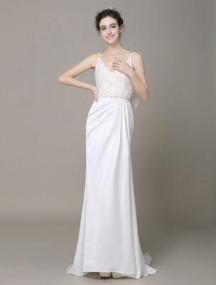 Satin Sheath Wedding Dress Plunging Neckline Bow Back Belt Lace Beading Evening Dress Exclusive_4