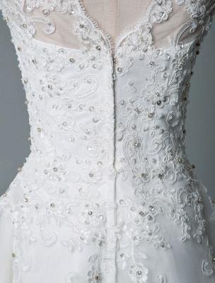 Vestido de novia vintage Hasta el té Cuello joya Sin mangas Una línea Cintura natural Tul Vestido de novia corto Exclusivo_8