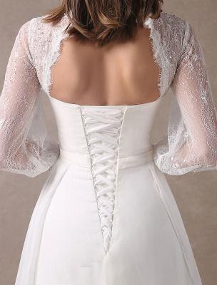 Weiße Brautkleider Langarm Spitze Chiffon Perlenstickerei Schärpe Illusion Strand Brautkleid Mit Zug Exklusiv_10