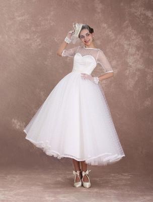 Vintage Brautkleid 50er Jahre kurzes Brautkleid Elfenbein rückenfrei Polka Dot halbe Ärmel Schatz Schleife Schärpe Weddig Empfangskleid exklusiv_3