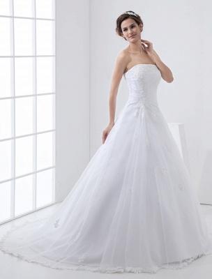 Robes de mariée blanches sans bretelles robe de mariée dentelle perles côté robe de mariée drapée avec train_1