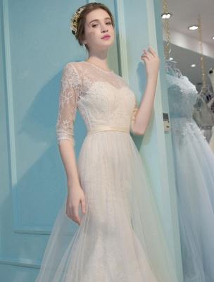 Meerjungfrau Brautkleider Spitze Halbarm Illusion Schatz Perlen Schlüsselloch Brautkleid mit Zug_7
