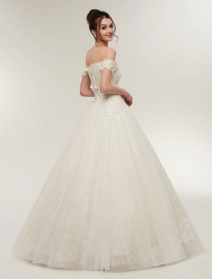 Princess Wedding Dresses Off The Shoulder Ivory Bridal Dresses Lace Applique Tulle Floor Length Ball Gowns_5
