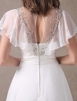 Glamorous Court Schleppe Elfenbein Brautkleid mit Perlenstickerei V-Ausschnitt Exklusiv_10