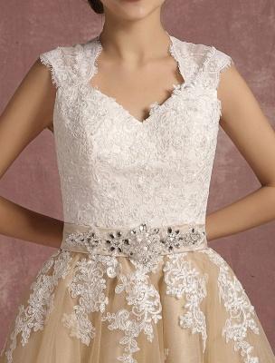 Vestido de novia de la vendimia Vestido de novia corto con apliques de encaje de champán Vestido de novia con cuello de la reina Ana Vestido de novia de la longitud del té_9
