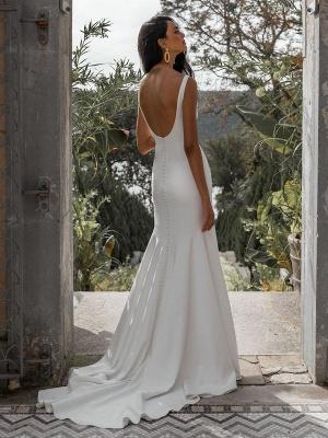 Vestido de novia blanco simple con tren Bateau Cuello sin mangas Sin espalda Tela de satén Sirena Vestidos de novia_4