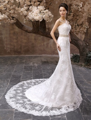 Wedding Dresses Mermaid Strapless Bridal Gown Lace Applique Beading Waist Sweetheart Neck Court Train Wedding Gown_3