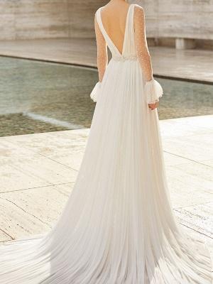 Robe de mariée en dentelle avec train à manches longues en dentelle Robes de mariée à col en V_2